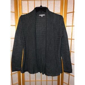 NY Collection Ribbed Dark Grey Open-Front Cardigan